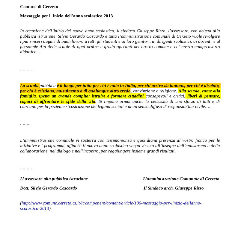 lettera sindaco Cerzeto
