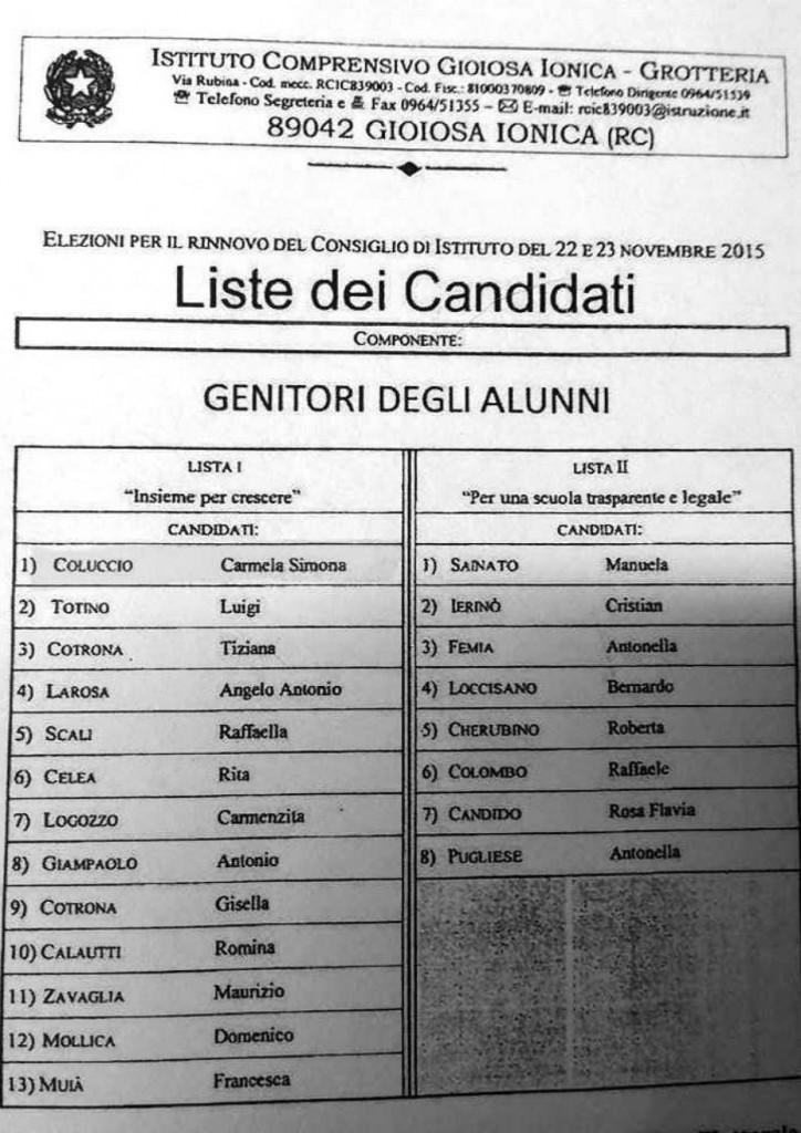 Le liste dei candidati per il rinnovo del Consiglio d'Istituto 2015/2018