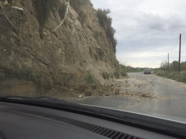 Frana sulla strada di Marano