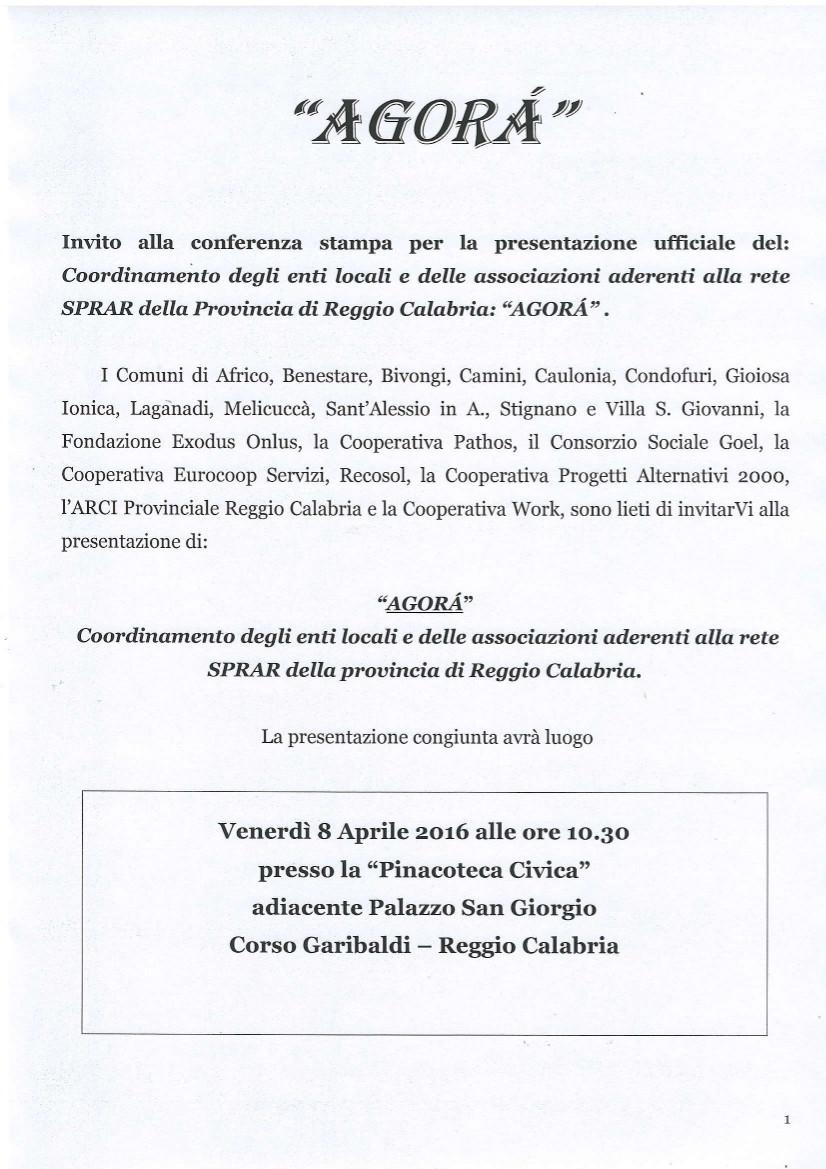 Invito presentazione Agorà - Coordinamento Provinciale SPRAR 1