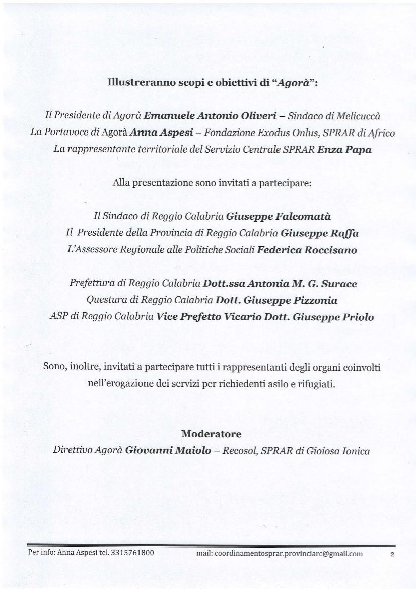 Invito presentazione Agorà - Coordinamento Provinciale SPRAR 2