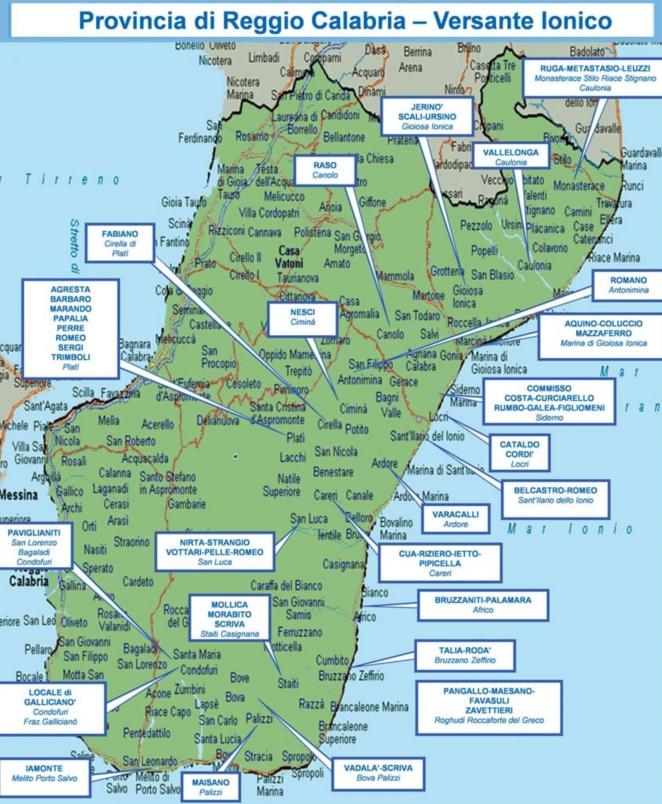 DIA-reggio-tirreno-2016 mappa cosche